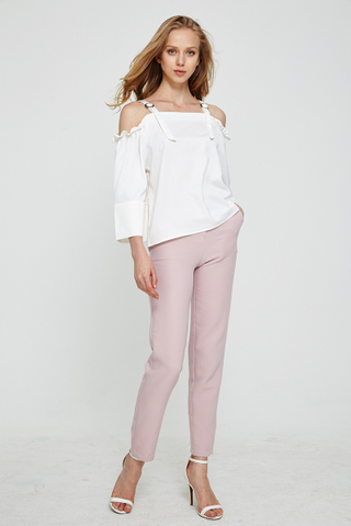 Bianca Basic Tapered pants in muted pink