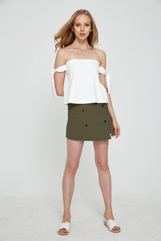 Kaysa Double breasted skirt in olive green