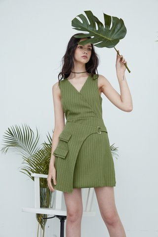 Kally Overlap buckle dress in green stripes