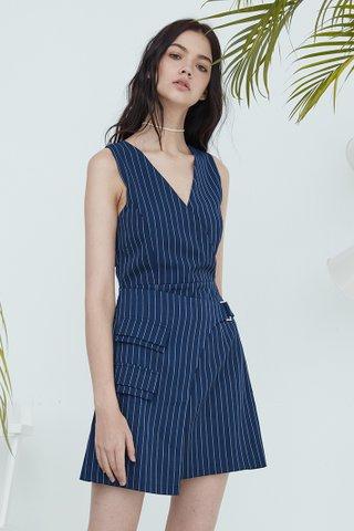 Kally Overlap buckle dress in blue stripes