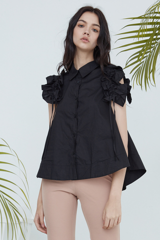 Ruffle cut out shoulder top in black