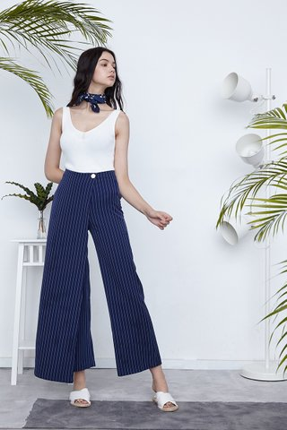Fynn overlap maxi pants in Navy stripes
