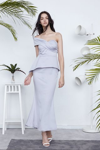 Fiona One shoulder peplum gown in classic grey