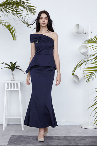 Fiona One shoulder peplum gown in Midnight blue