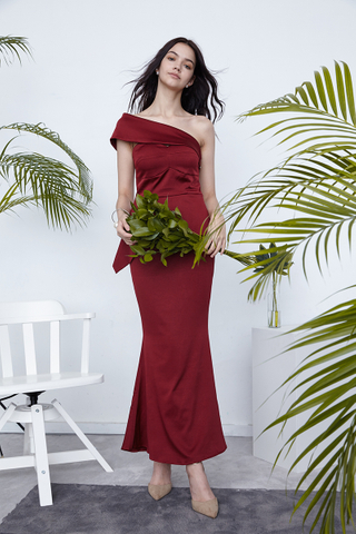 Fiona One shoulder peplum gown in wine