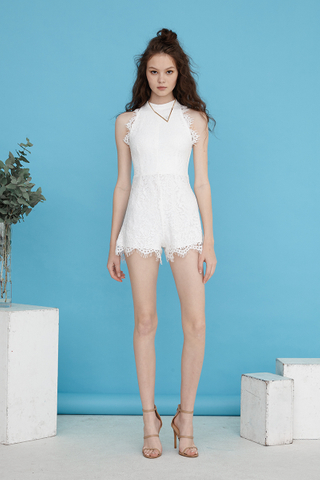 Scallop Eyelash lace playsuit in White