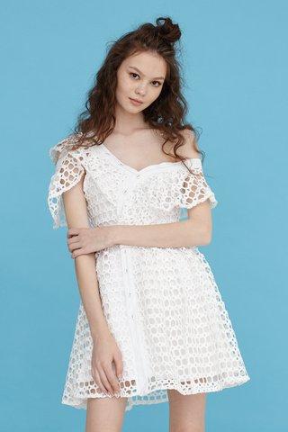 Miss eyelet one shoulder dress in white