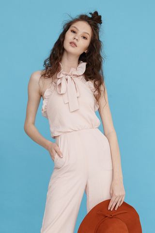 Marcella halter jumpsuit in light peach