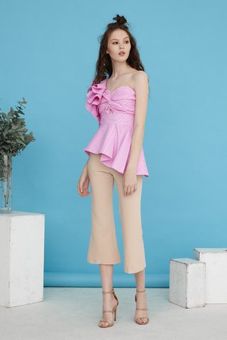 Iryn bustier peplum one shoulder top in pink gingham