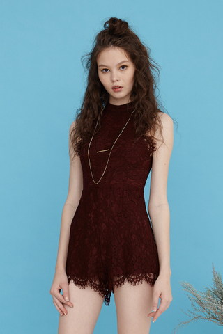Scallop Eyelash lace playsuit in Wine