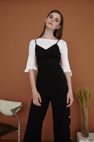 Leia Button Slip jumpsuit in black