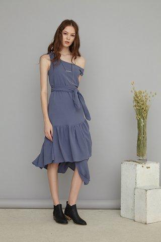 Arissa One shoulder asymmetrical dress in Ash purple