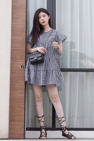 Mary Tier Dress in  black Gingham