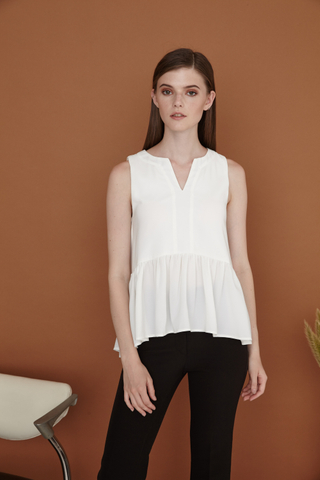 Rosie Dip V neck Peplum Top in White