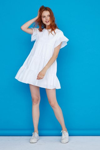 Mary Tier Dress in White