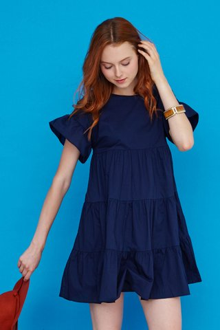 Mary Tier Dress in Navy Blue