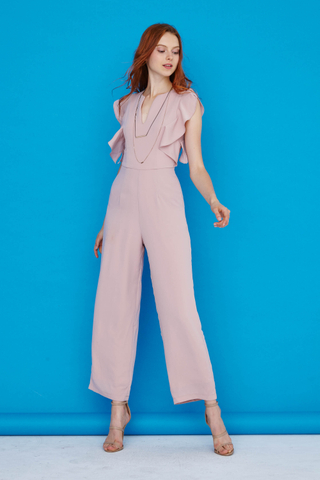 Karen Flutter sleeves jumpsuit in Pink