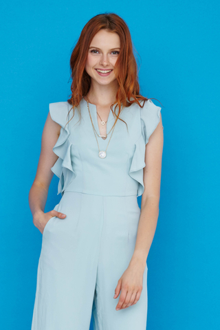 Karen Flutter sleeves jumpsuit in Mint