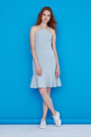 Eleanor Mesh Dropwaist Dress in Powder Blue