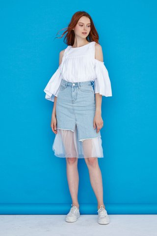 Celine Cut Out and Pleat Top in White
