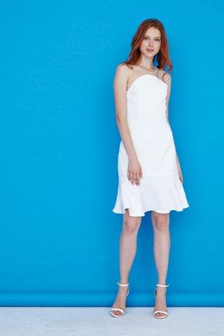 Eleanor Mesh Dropwaist Dress in White