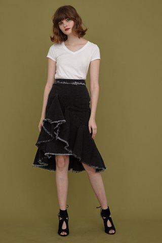 TRIXIE Ruffle Denim Midi Skirt