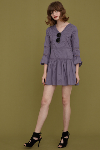 Kaia Crochet Sundress in Purple Ash