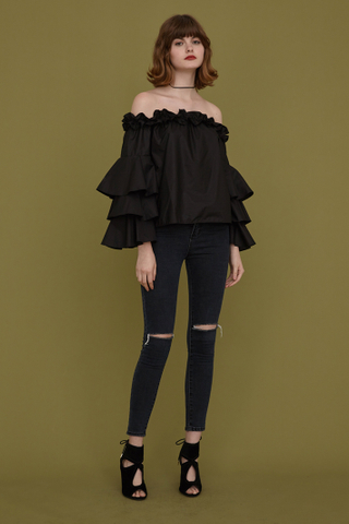 Grazia offshoulder tiered sleeve top in black