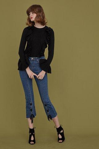 Sena Ruffled Knit Sweater in Black
