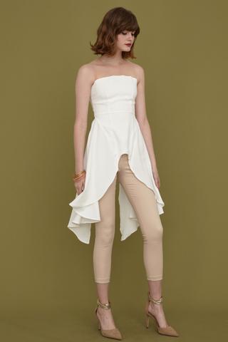 Mila High-Low hem mesh top in white