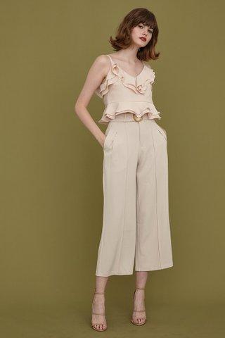 Danica Wooden Buckle Belt Pants in classic beige