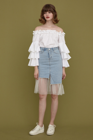 Grazia offshoulder tiered sleeve top in white