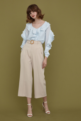 MEGAN Frill Split Sleeves Top in sky blue