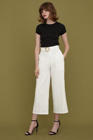 Danica Wooden Buckle Belt Pants in white
