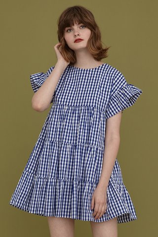 Mary Tier Dress in Blue Gingham