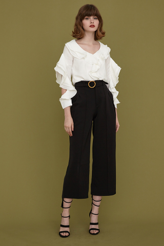 Danica Wooden Buckle Belt Pants in Black