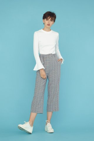 JOIE Ribbed Flare Long Sleeve Top in White