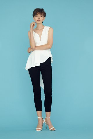 ALEXIS Dip V Mesh Asymmetrical Top in white