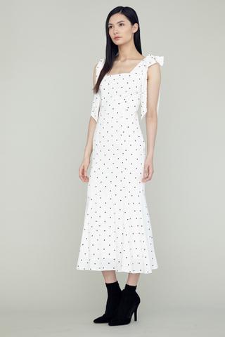 LOVER Shoulder Ribboned Fishtail Maxi Dress in white polkadot