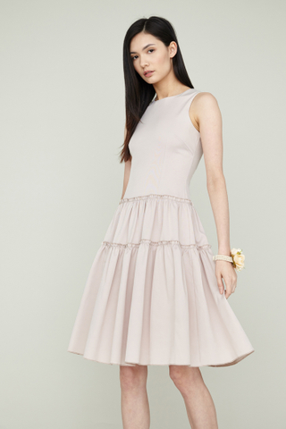 LING Tier Dress in Champagne