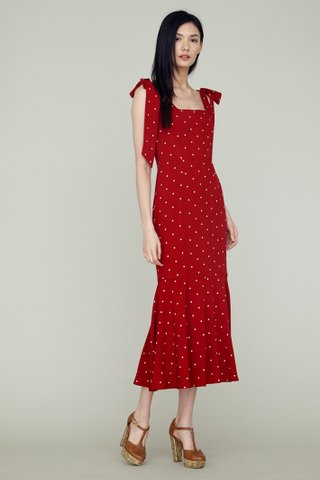LOVER Shoulder Ribboned Fishtail Maxi Dress in red polkadot