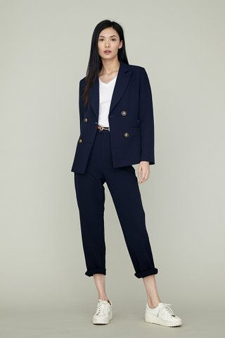 ERIN High Waisted Slim Suit Pants in navy