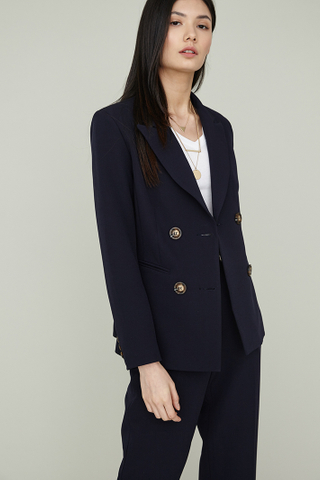 YOON Double Breasted Coat in Navy