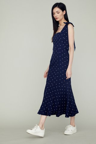 LOVER Shoulder Ribboned Fishtail Maxi Dress in navy polkadot