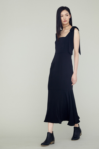 LOVER Shoulder Ribboned Fishtail Maxi Dress in Black