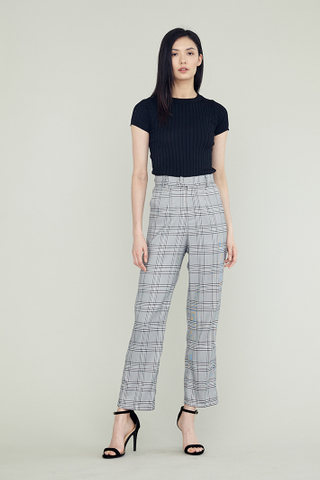 ERIN High Waisted Slim Suit Pants in Plaid