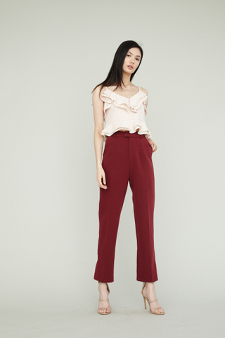 ERIN High Waisted Slim Suit Pants in Maroon