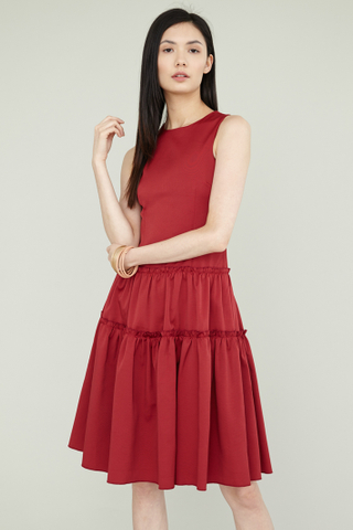 LING Tier Dress in Maroon