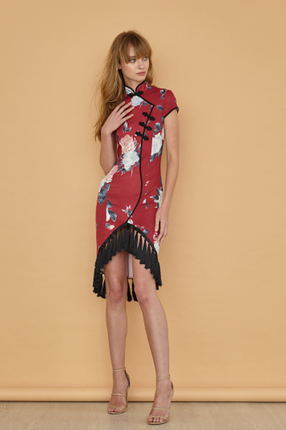 LAUREN Tasseled Floral Cheongsam Dress in red