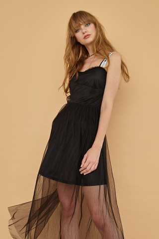 DIANE Slogan Strap Dress in Black